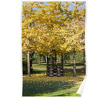 tree and well in the park in autumn Poster