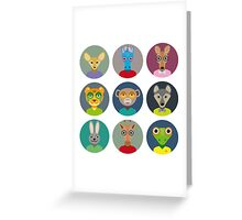Animals faces  Greeting Card