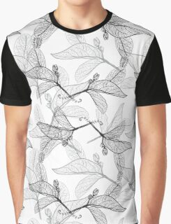 Leaves contours on white background Graphic T-Shirt