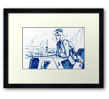Girl and Bike 3 Framed Print