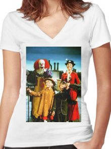 PENNYWISE IN MARY POPPINS Women's Fitted V-Neck T-Shirt