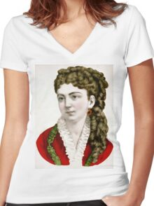 Clara - 1907 - Currier & Ives Women's Fitted V-Neck T-Shirt