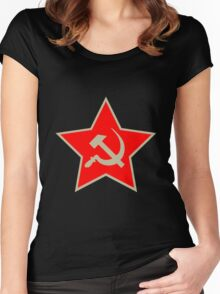 Communist Star; Hammer And Sickle Women's Fitted Scoop T-Shirt