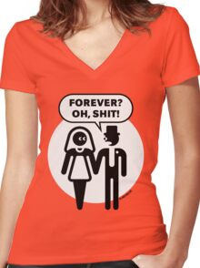 Forever? Oh, Shit! (Wedding / Stag Party / 2C) Women's Fitted V-Neck T-Shirt