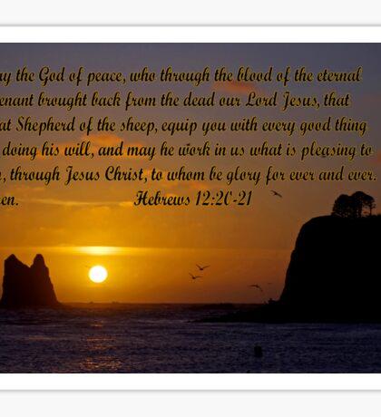 peaceful sunset w/hebrews 13:20-21 Sticker