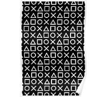 Gamer Pattern White on Black Poster