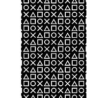 Gamer Pattern White on Black Photographic Print