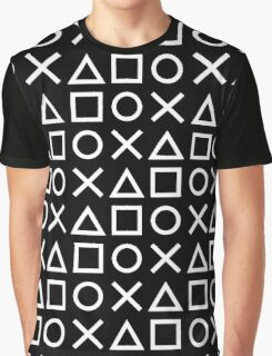 Gamer Pattern White on Black Graphic T-Shirt