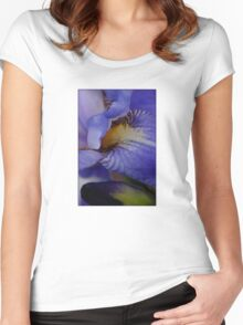 blue iris flower and bud abstract Women's Fitted Scoop T-Shirt