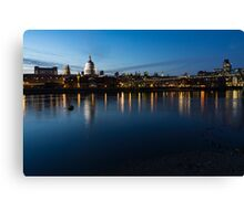 British Symbols and Landmarks - Saint Paul's Cathedral Blue Hour Reflections Canvas Print