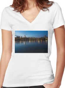 British Symbols and Landmarks - Saint Paul's Cathedral Blue Hour Reflections Women's Fitted V-Neck T-Shirt