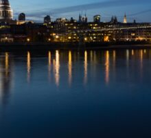 British Symbols and Landmarks - Saint Paul's Cathedral Blue Hour Reflections Sticker
