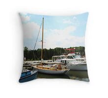 Line of Docked Boats Throw Pillow