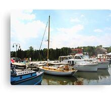 Line of Docked Boats Metal Print