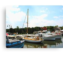 Line of Docked Boats Canvas Print