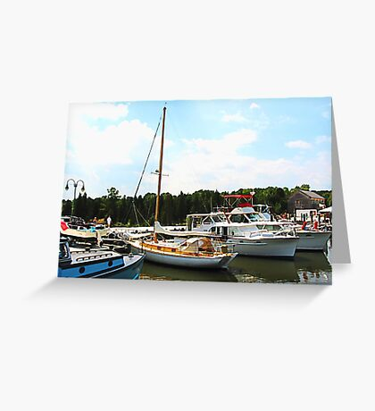 Line of Docked Boats Greeting Card