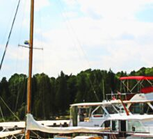 Line of Docked Boats Sticker
