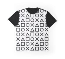 Gamer Pattern Black on White Graphic T-Shirt