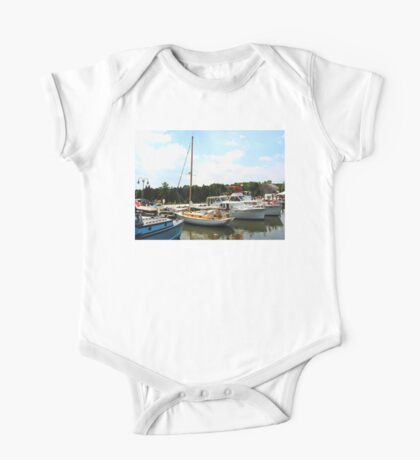 Line of Docked Boats One Piece - Short Sleeve