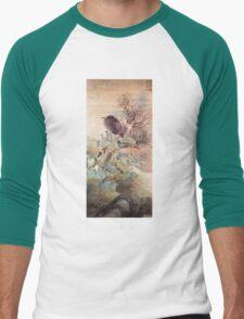 Matsumura Goshun Hibiscus and Blue Heron on a Tree Stump Men's Baseball ¾ T-Shirt