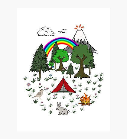 Cartoon Camping Scene Photographic Print