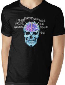Skate On The Brain ~ Anachrotees Design Mens V-Neck T-Shirt