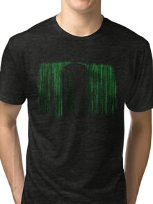 The Matrix Inspired Raining Code Design Tri-blend T-Shirt
