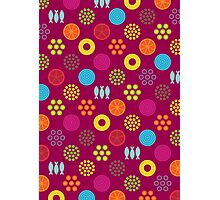 Retro food pattern (Magenta) Photographic Print