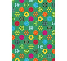 Retro food pattern (Green) Photographic Print