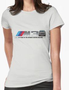 BMW E30 M3 30th Anniversary (Black Sport Evo) Black Text 2 Womens Fitted T-Shirt
