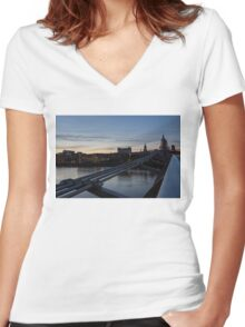 British Symbols and Landmarks - Silver Evening at the Millennium Bridge Women's Fitted V-Neck T-Shirt