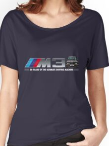 BMW E30 M3 30th Anniversary (Black Sport Evo) White Text Women's Relaxed Fit T-Shirt