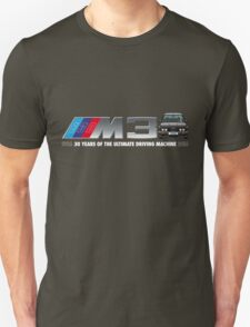 BMW E30 M3 30th Anniversary (Black Sport Evo) White Text Unisex T-Shirt
