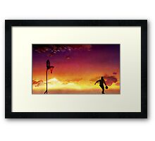 Sunset Basketball Framed Print