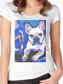 French Bulldog Dog Bright colorful pop dog art Women's Fitted Scoop T-Shirt