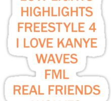 THE LIFE OF PABLO TRACK LIST Sticker