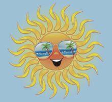 Summer Sun Cartoon with Sunglasses One Piece - Short Sleeve