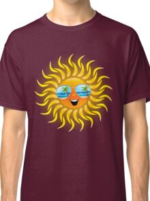 Summer Sun Cartoon with Sunglasses Classic T-Shirt