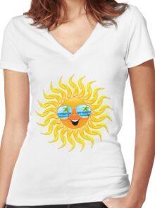 Summer Sun Cartoon with Sunglasses Women's Fitted V-Neck T-Shirt