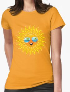 Summer Sun Cartoon with Sunglasses Womens Fitted T-Shirt