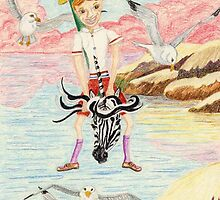 Zebra Hobby Horse And The Race With The Seagulls by pinkyjainpan