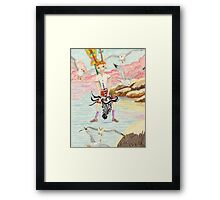 Zebra Hobby Horse And The Race With The Seagulls Framed Print