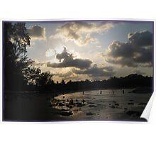 silver beach sunset Poster