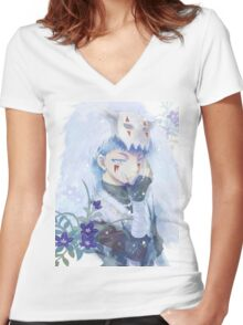 unique shin-ah painting Women's Fitted V-Neck T-Shirt