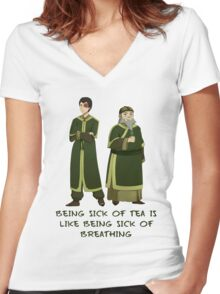 Zuko and Iroh Tea Shop with Qoute Women's Fitted V-Neck T-Shirt