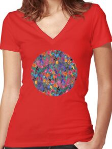 Popping Color Painted Floral on Grey Women's Fitted V-Neck T-Shirt