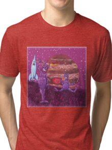 Purple Furry Cyclopes over Jupiter. Tri-blend T-Shirt
