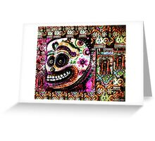 White Sugar Skull with flowers - Pop Art - DAY OF THE DEAD Greeting Card