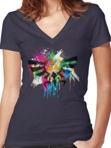 Hylian Paint Splatter Women's Fitted V-Neck T-Shirt