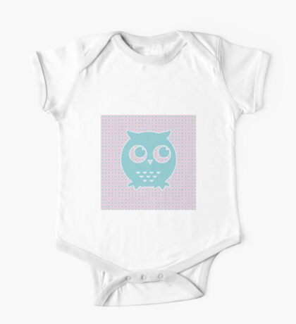 Owl in Light Pink and Blue on Flower Background  One Piece - Short Sleeve